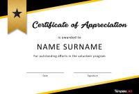 Free Certificate Of Appreciation Templates And Letters throughout Volunteer Of The Year Certificate Template