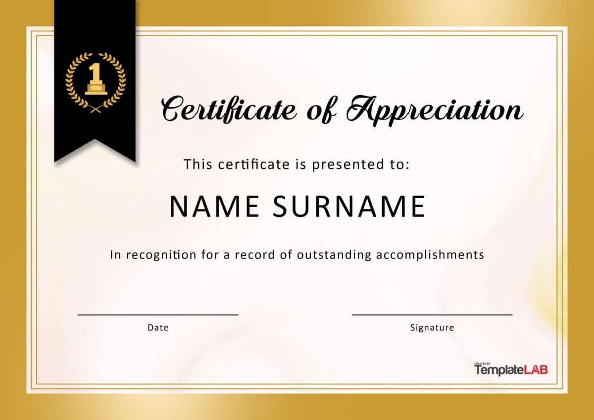Free Certificate Of Appreciation Templates And Letters With Certificate Of Service Template Free