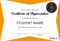 Free Certificate Of Appreciation Templates And Letters with regard to Student Of The Year Award Certificate Templates