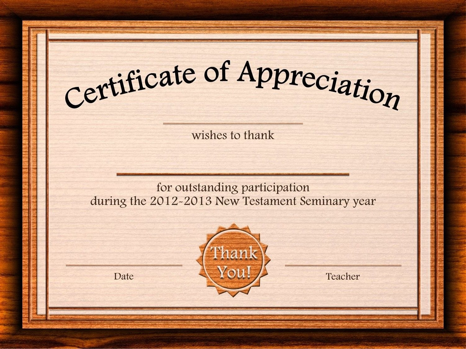Free Certificate Of Appreciation Templates For Word Intended For Certificate Templates For Word Free Downloads
