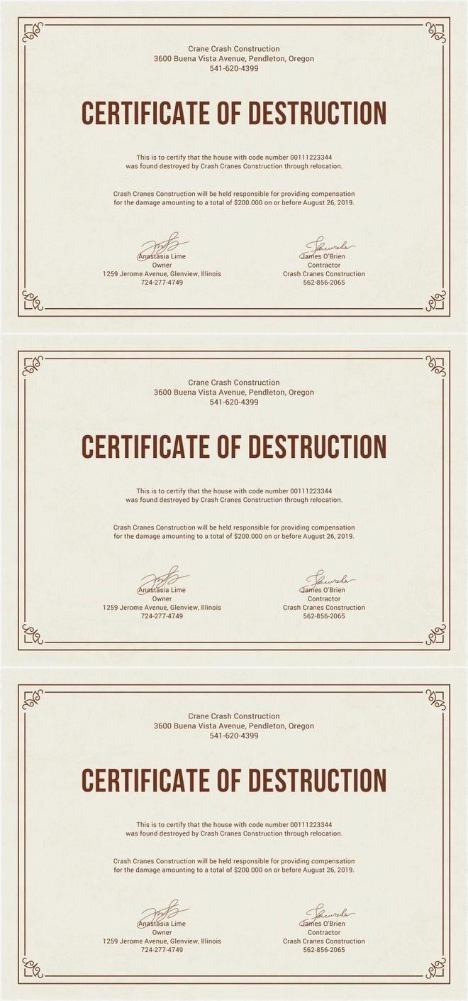 Free Certificate Of Destruction  Free Certificate Templates  Free For Destruction Certificate Template