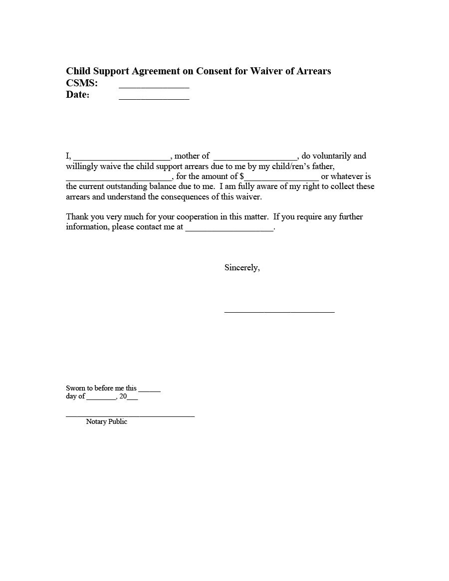 Free Child Support Agreement Templates Pdf  Ms Word Within Mutual Child Support Agreement Template