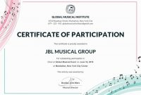 Free Choir Certificate Of Participation  Note  Certificate Of pertaining to Choir Certificate Template