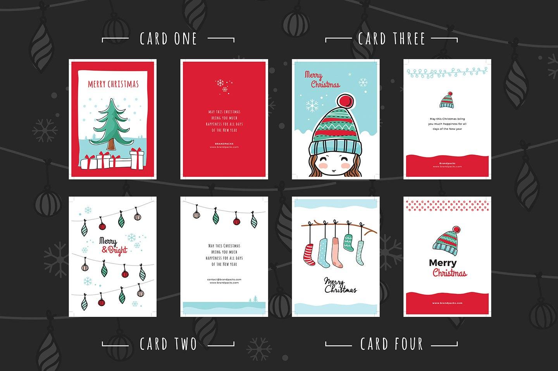 Free Christmas Card Templates For Photoshop  Illustrator  Brandpacks In Adobe Illustrator Christmas Card Template