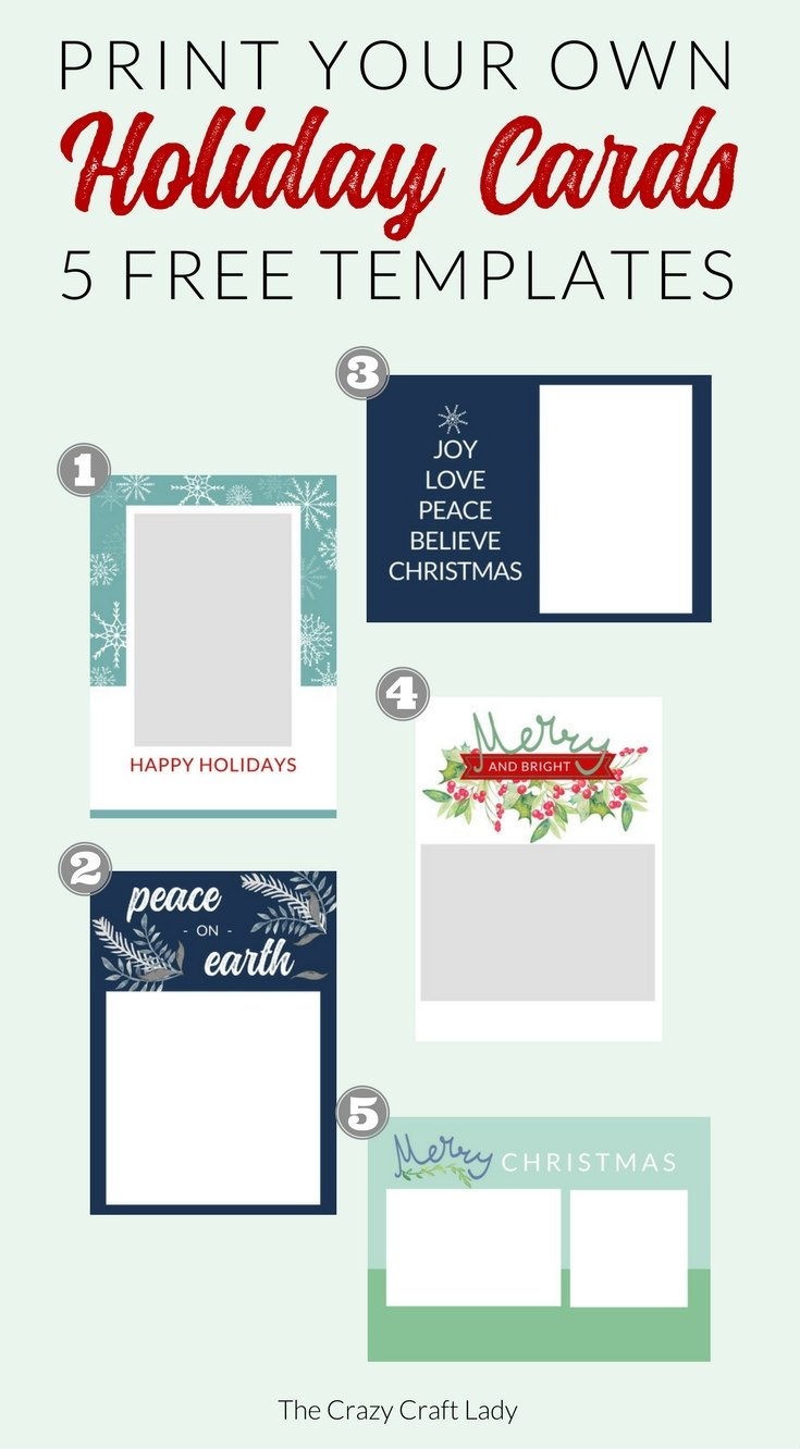 Free Christmas Card Templates  The Crazy Craft Lady In Free Holiday Photo Card Templates