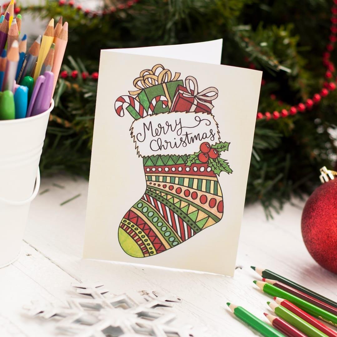 Free Christmas Coloring Card  Sarah Renae Clark  Coloring Book Regarding Diy Christmas Card Templates