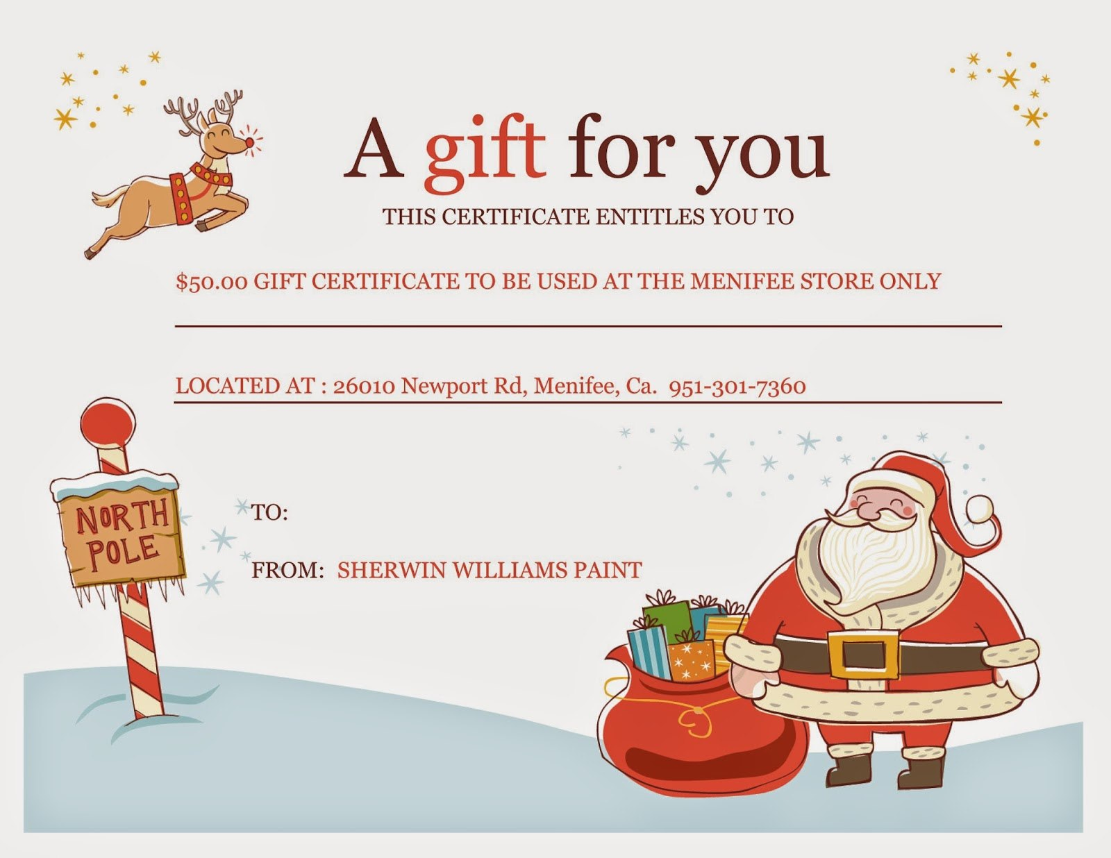 Free Christmas Gift Certificate Template Printable  Mandegar Inside Free Christmas Gift Certificate Templates