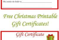 Free Christmas Printable Gift Certificates  Gift Ideas  Christmas in Printable Gift Certificates Templates Free
