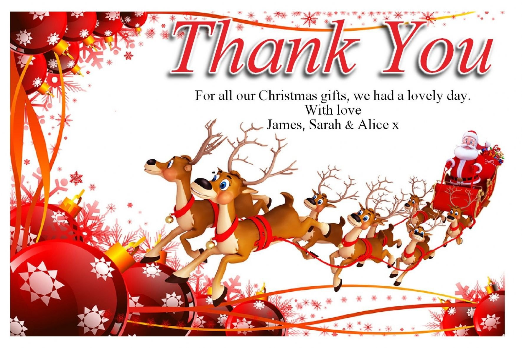 Free Christmas Thank You Cards Templates — Anouk Invitations Pertaining To Christmas Thank You Card Templates Free