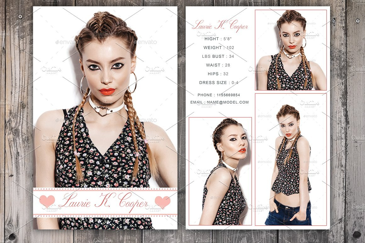 Free Comp Card Template Modeling In Free Model Comp Card Template