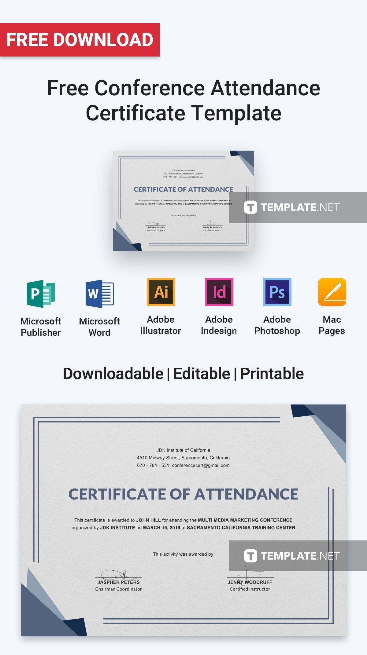Free Conference Attendance Certificate  Certificate Templates Throughout Certificate Of Attendance Conference Template