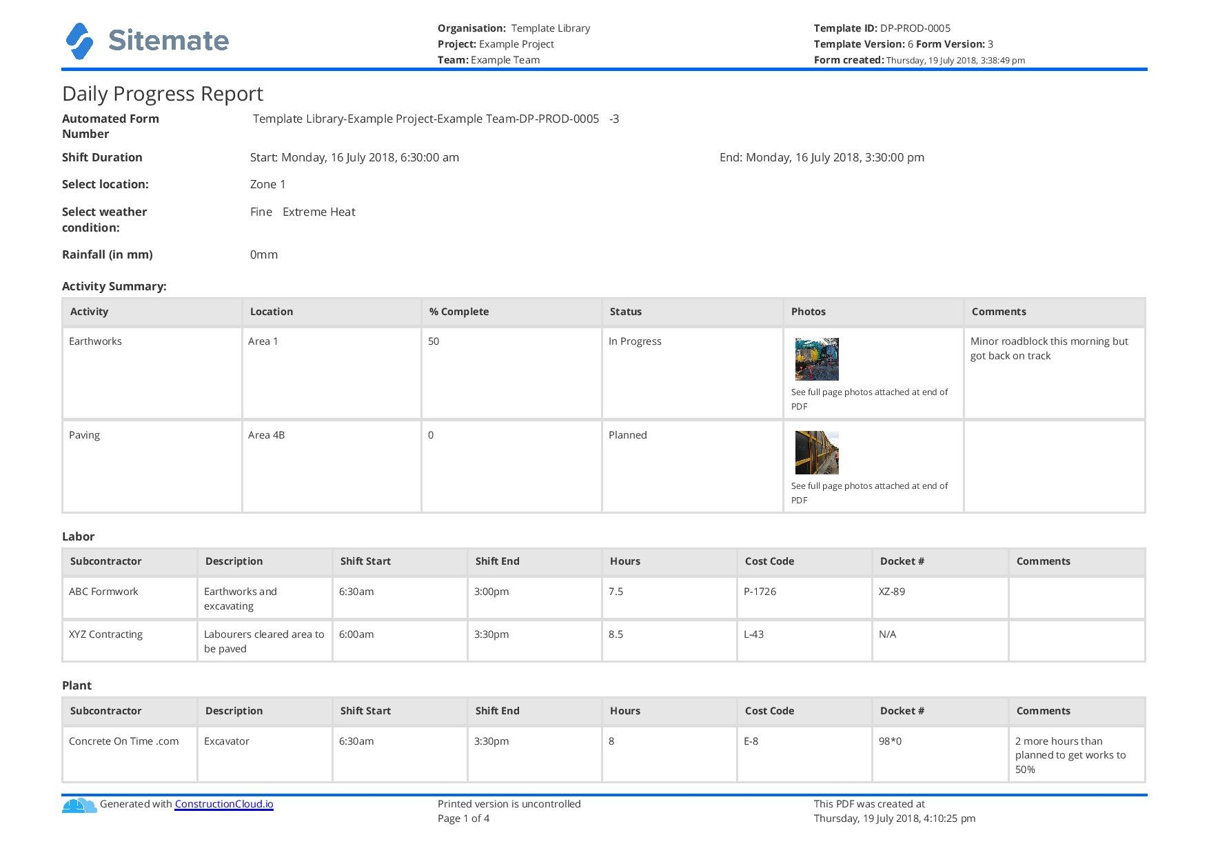 Free Construction Daily Report Template Better Than Pdf Excel Word With Regard To Monthly Productivity Report Template