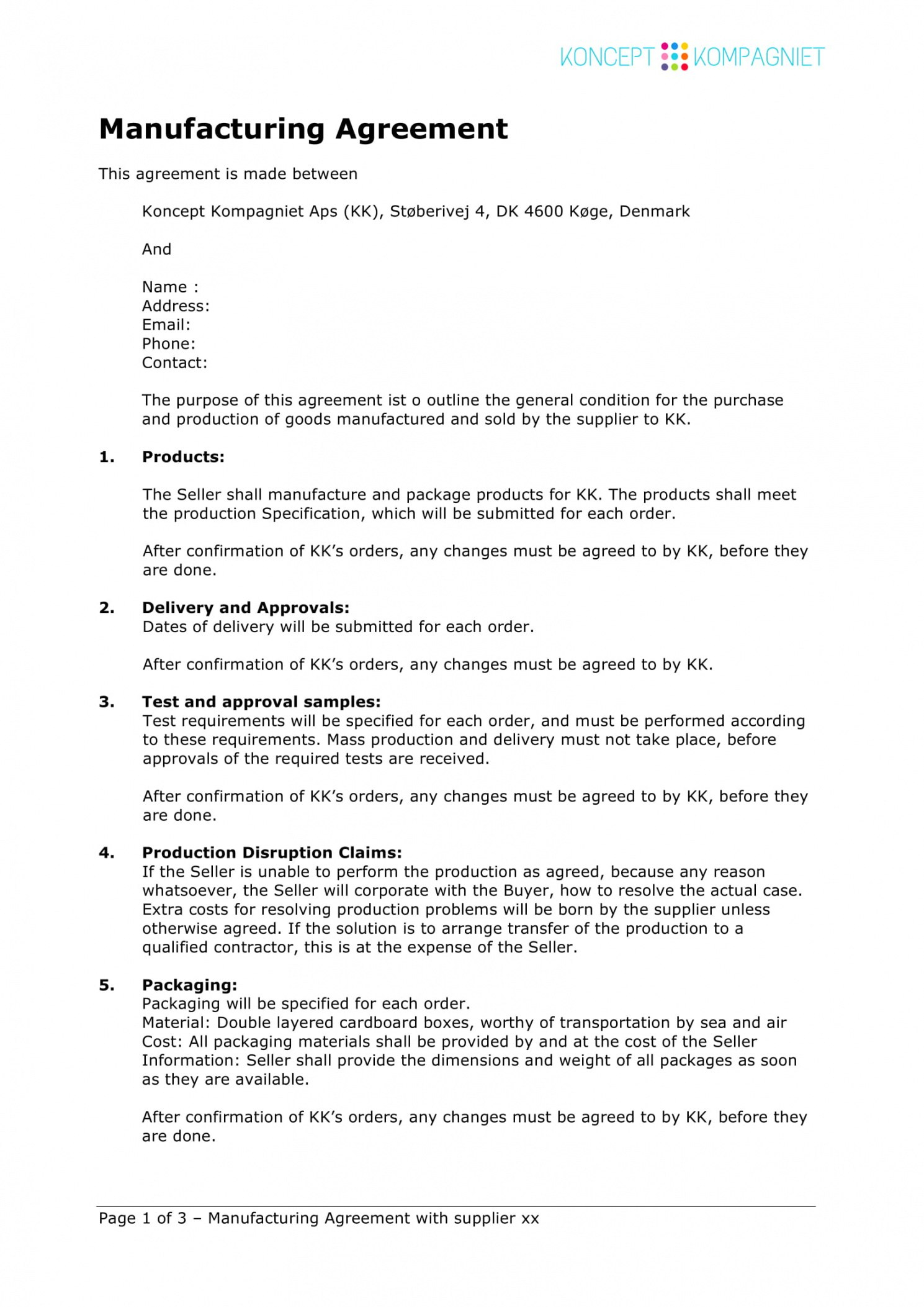 Free  Contract Manufacturing Agreement Template Examples Pdf Regarding Free Contract Manufacturing Agreements Templates