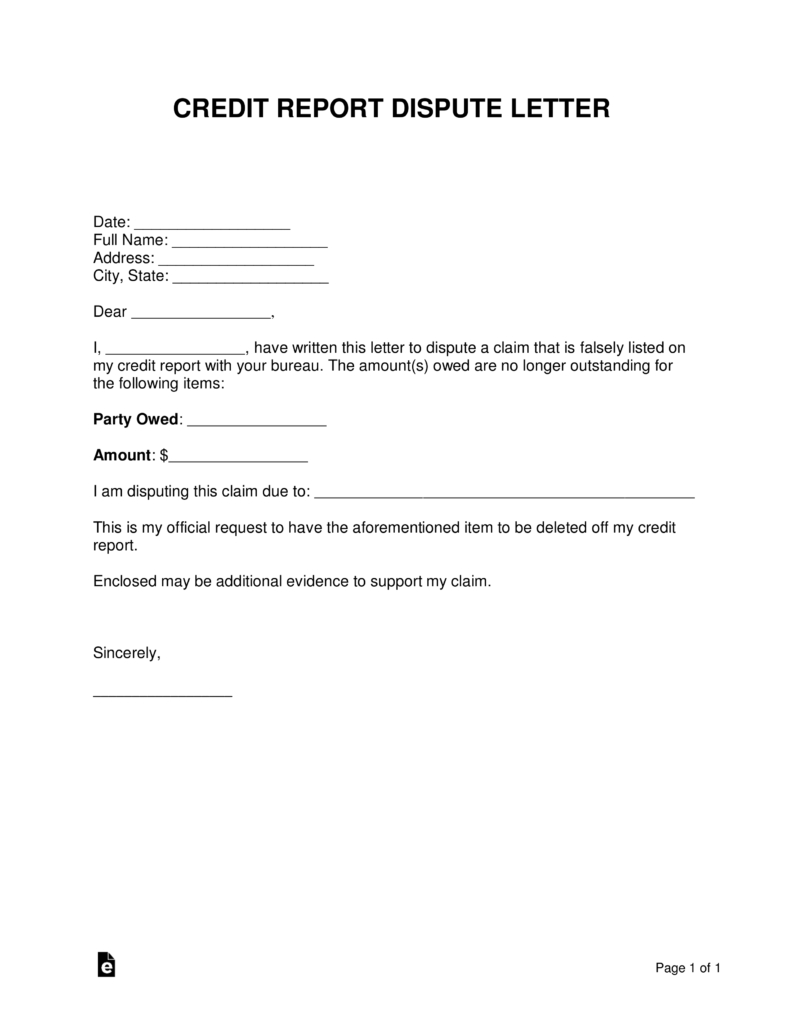 Free Credit Report Dispute Letter Template  Sample  Word  Pdf Pertaining To Credit Report Dispute Letter Template