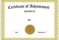 Free Customizable Certificate Of Achievement pertaining to Certificate Of Achievement Template For Kids