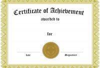 Free Customizable Certificate Of Achievement throughout Certificate Of Completion Template Free Printable
