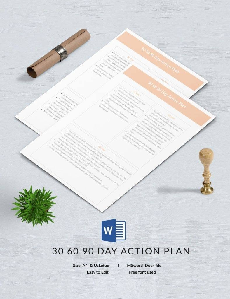 Free  Day Plan Templates  Word Pdf Apple Pages Docs With 30 60 90 Day Plan Template Word