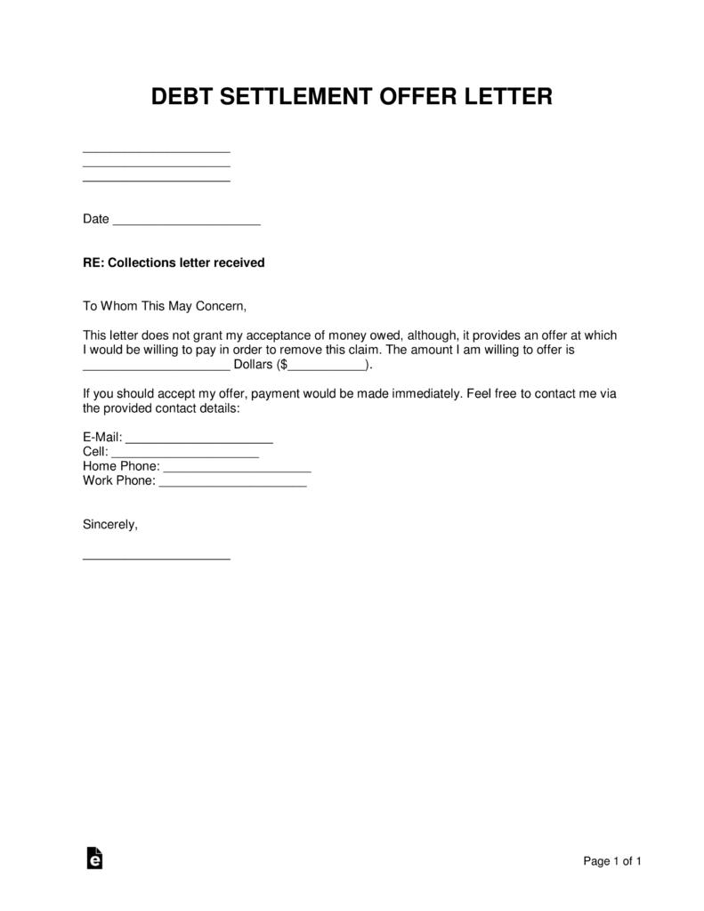 Free Debt Settlement Offer Letter  Sample  Template  Word  Pdf Intended For Free Debt Settlement Agreement Template