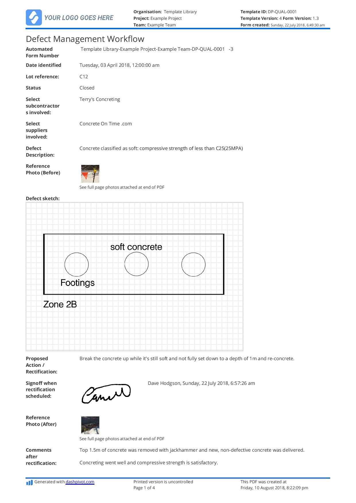 Free Defect Report Template Better Than Word Doc And Excel Regarding Fault Report Template Word