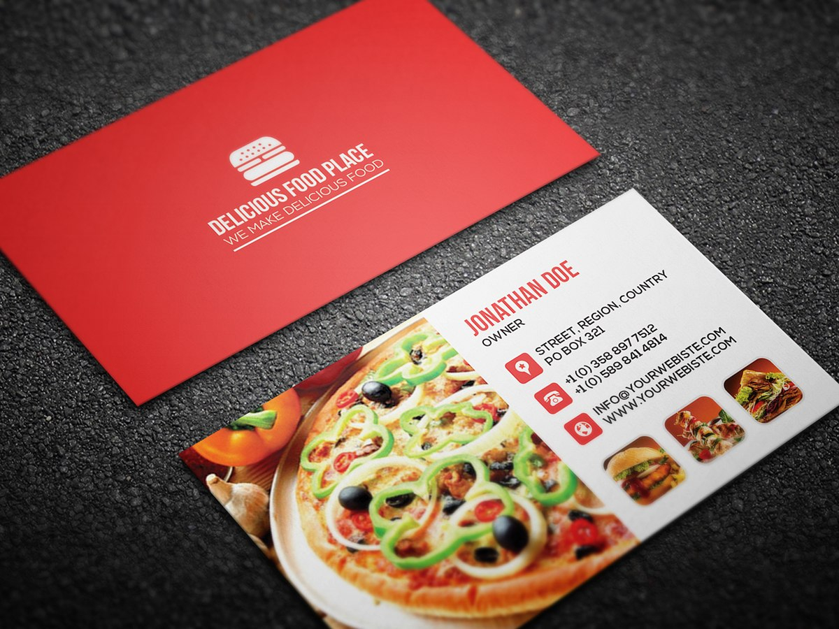 Free Delicious Food Business Card On Behance With Regard To Food Business Cards Templates Free