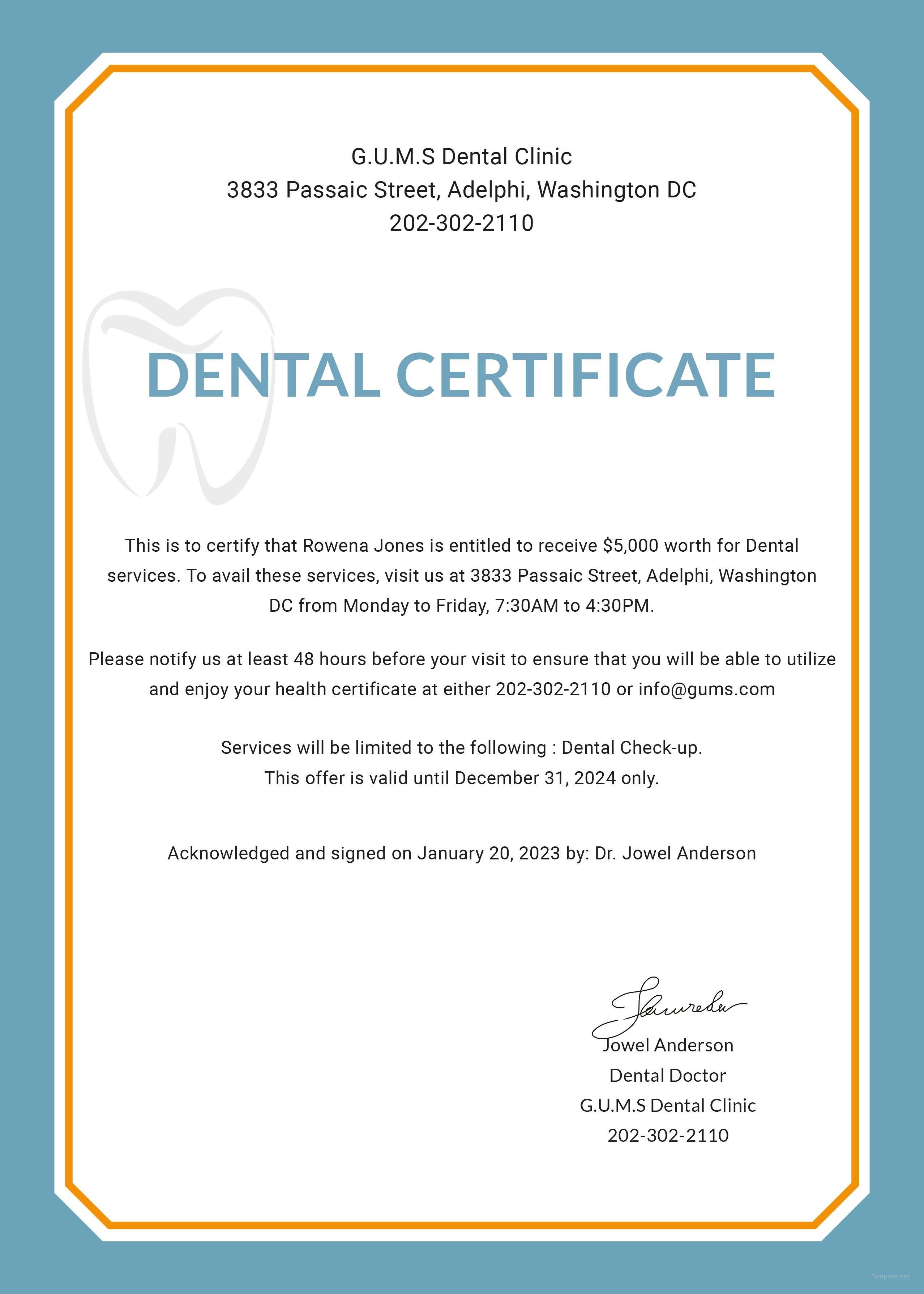 Free Dental Medical Certificate Sample  Psg  Free Dental Dental Pertaining To Free Fake Medical Certificate Template