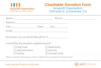 Free Donation Form Templates In Word Excel Pdf with Fundraising Pledge Card Template
