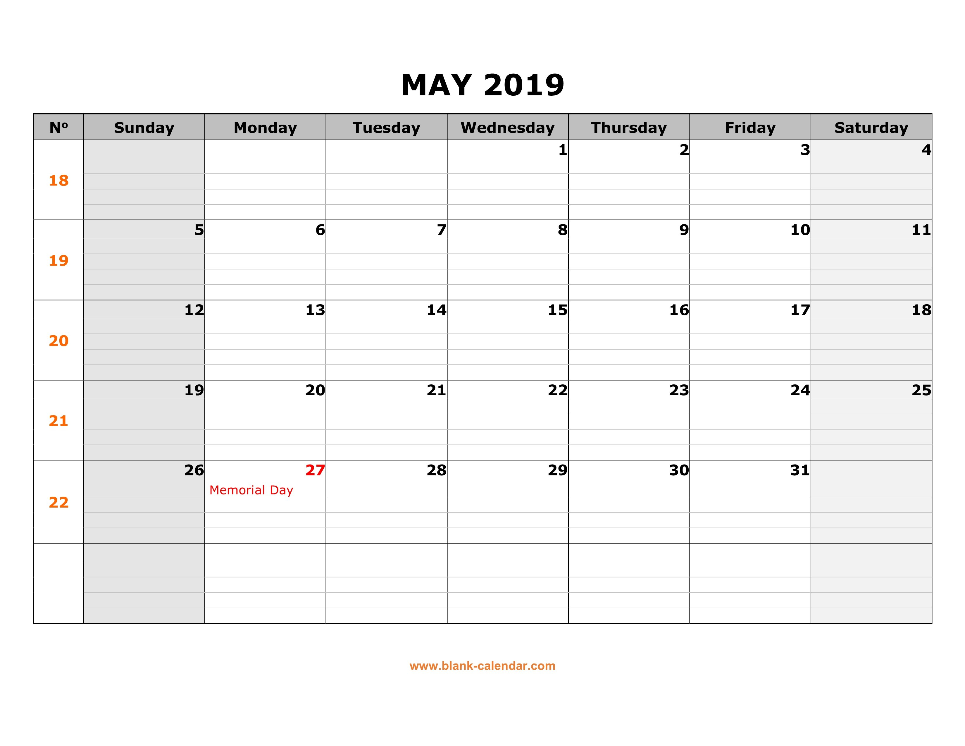 Free Download Printable May  Calendar Large Box Grid Space For Intended For Blank Calander Template
