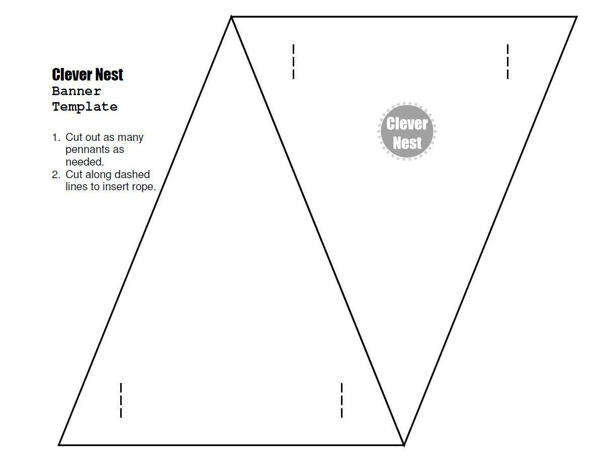 Free Downloadable Bunting Template Yer Welcome   Free Printables Inside Homemade Banner Template