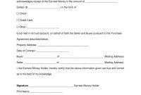 Free Earnest Money Deposit Receipt For Real Estate  Pdf  Word pertaining to Earnest Money Deposit Agreement Template