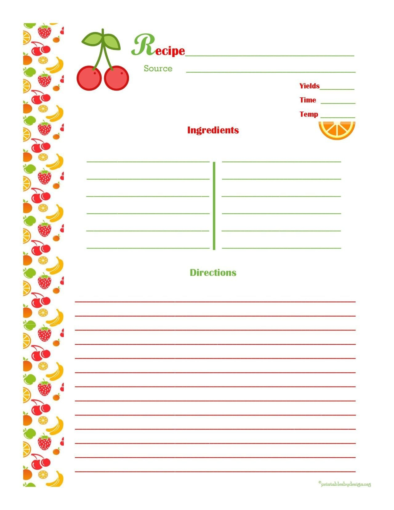Free Editable Recipe Card Templates For Microsoft Word  Free Intended For Microsoft Word Recipe Card Template