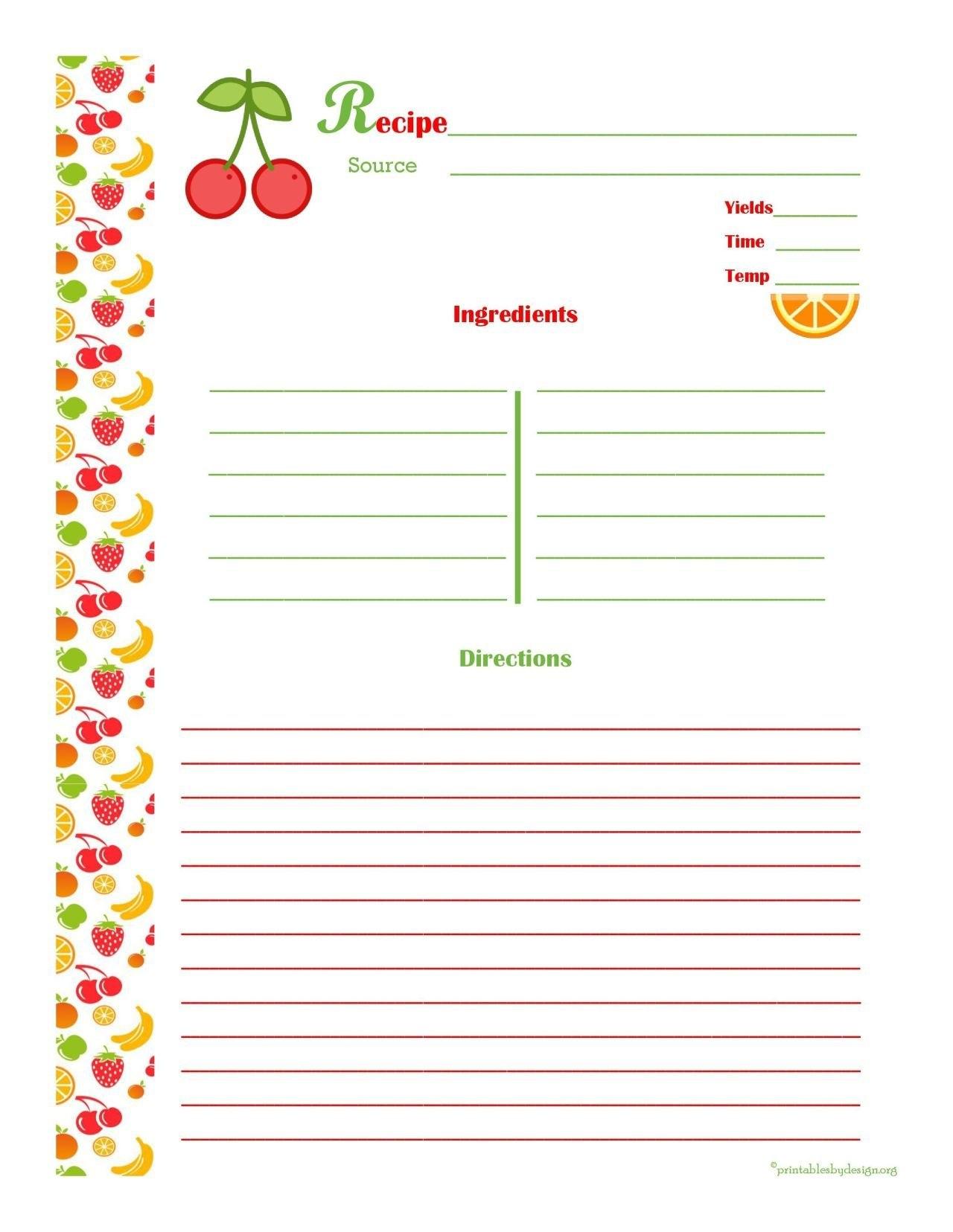 Free Editable Recipe Card Templates For Microsoft Word  Free With Regard To Free Recipe Card Templates For Microsoft Word