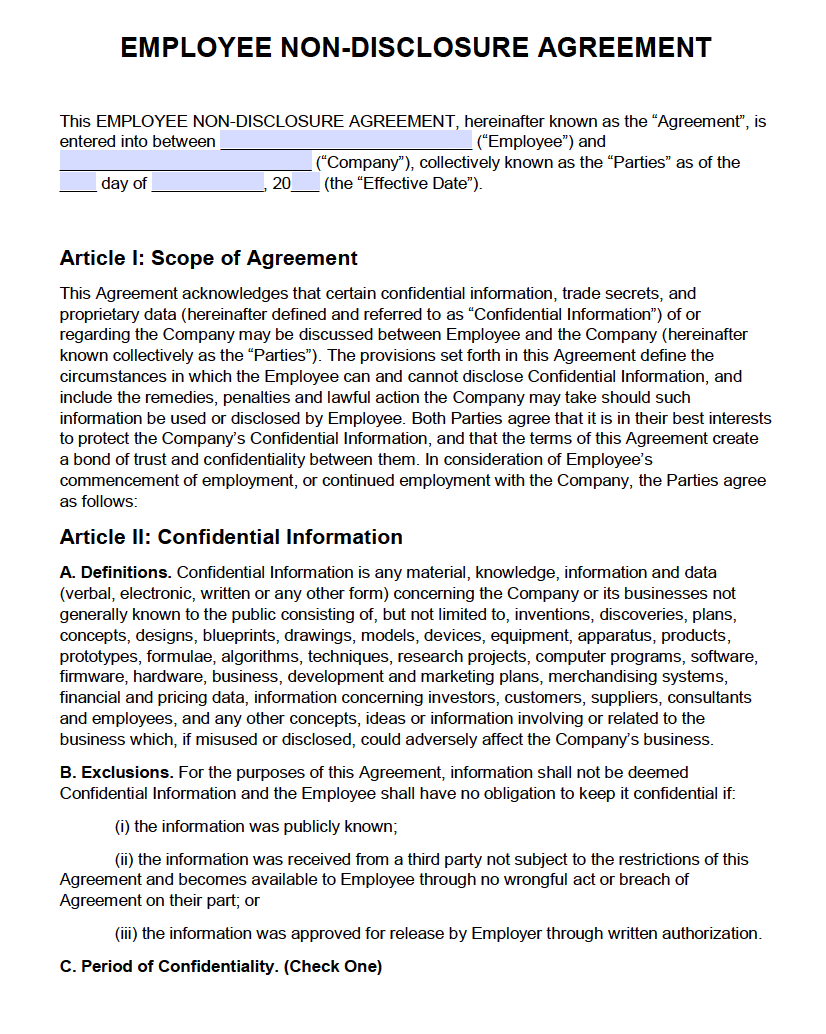 Free Employee Nondisclosure Agreement Nda  Pdf  Word Docx In Standard Confidentiality Agreement Template