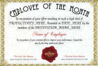 Free Employee Of The Month Certificate Template At inside Employee Of The Month Certificate Template