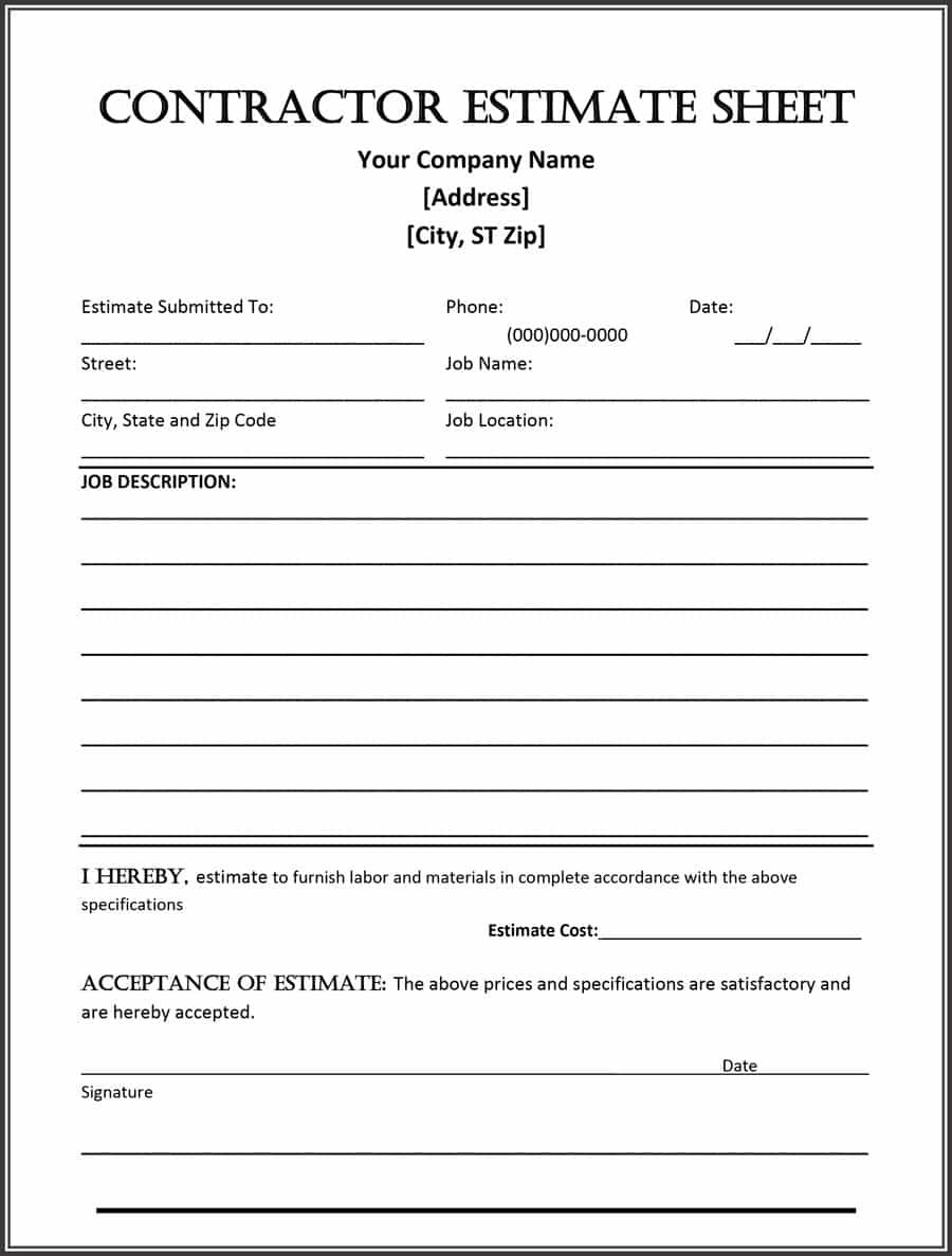 Free Estimate Template Forms Construction Repair Cleaning Within Work Estimate Template Word