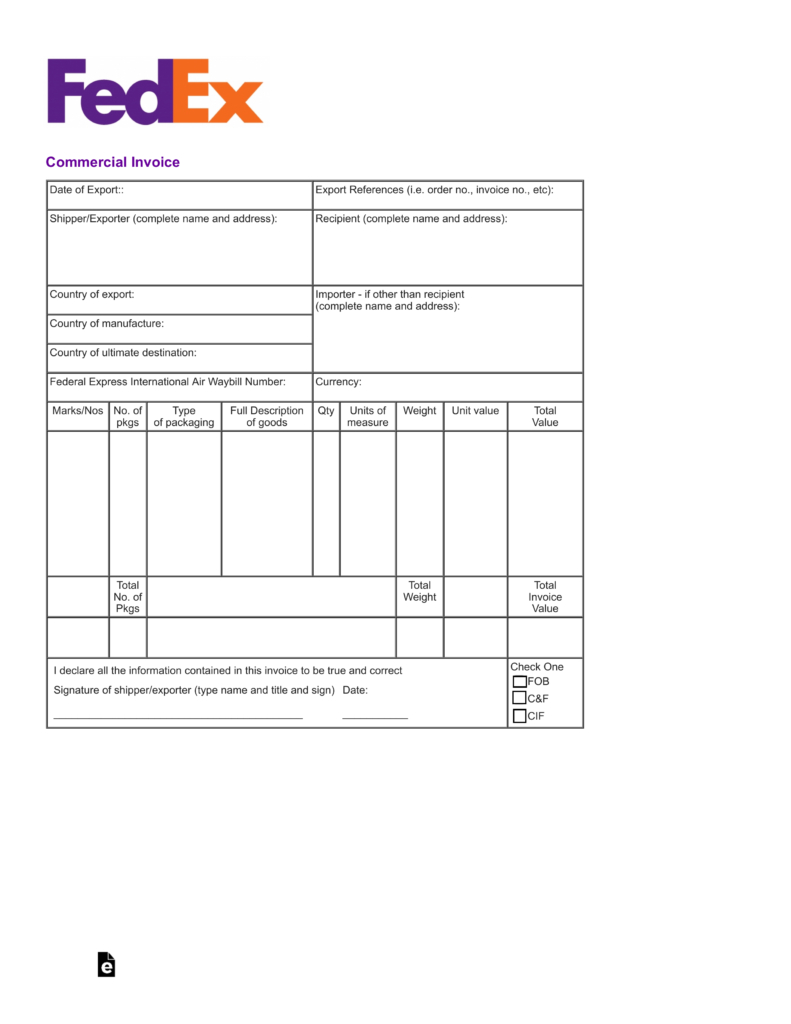 Free Fedex Commercial Invoice Template  Pdf  Eforms – Free Regarding Fedex Proforma Invoice Template