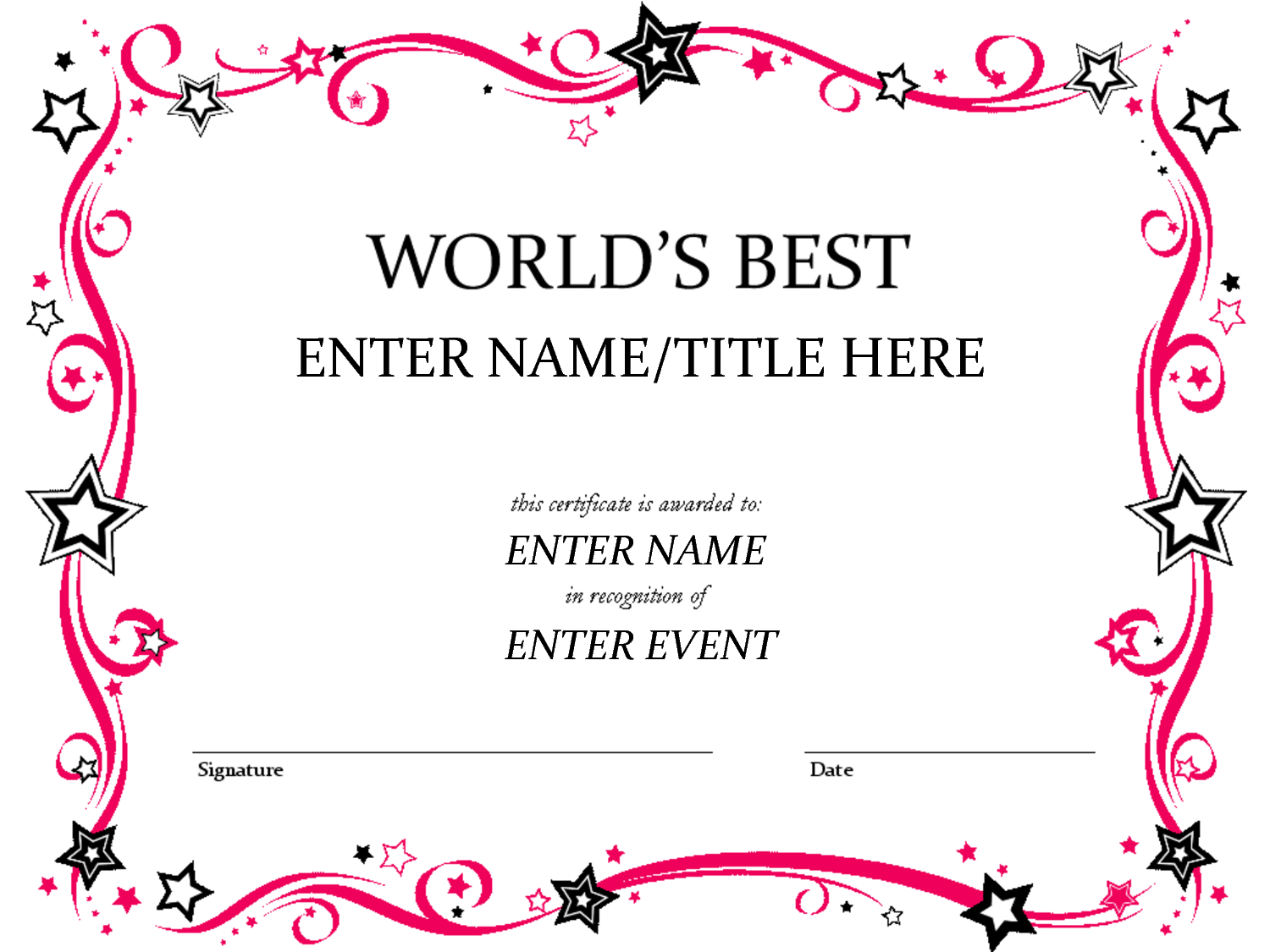 Free Funny Award Certificates Templates  Worlds Best Custom Award Inside Free Funny Award Certificate Templates For Word