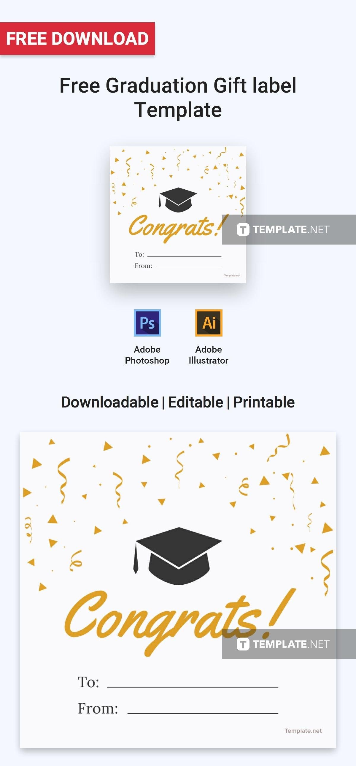 Free Graduation Gift Label  Label Templates  Designs   Label Inside Graduation Labels Template Free