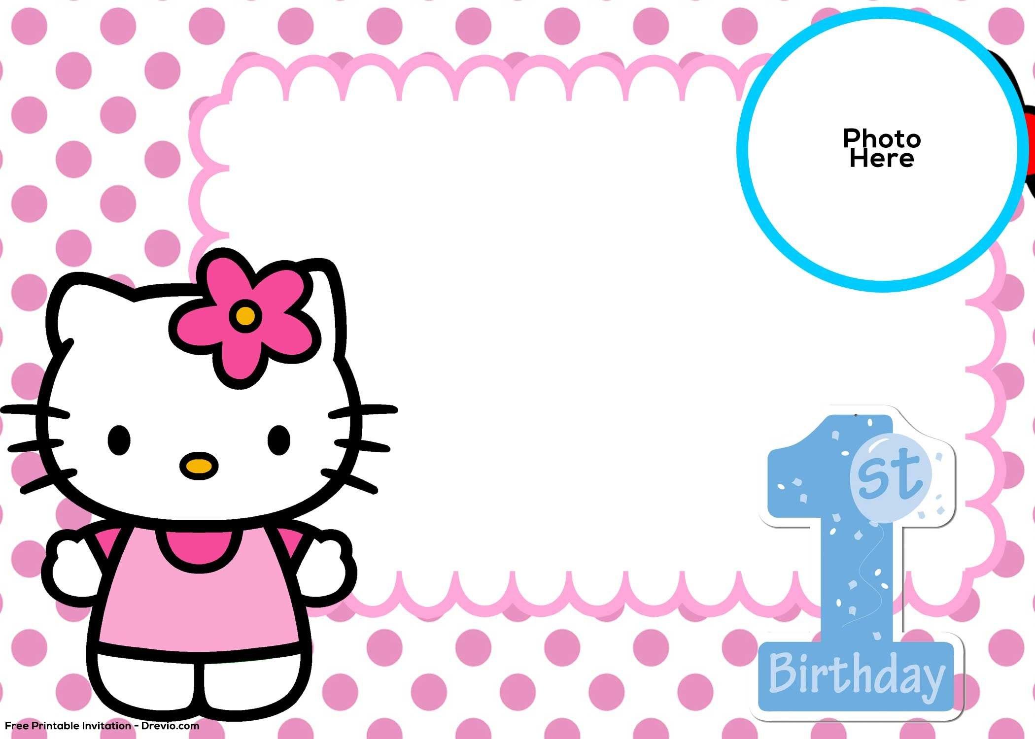 Free Hello Kitty St Birthday Invitation Template  Hello Kitty Inside Hello Kitty Banner Template