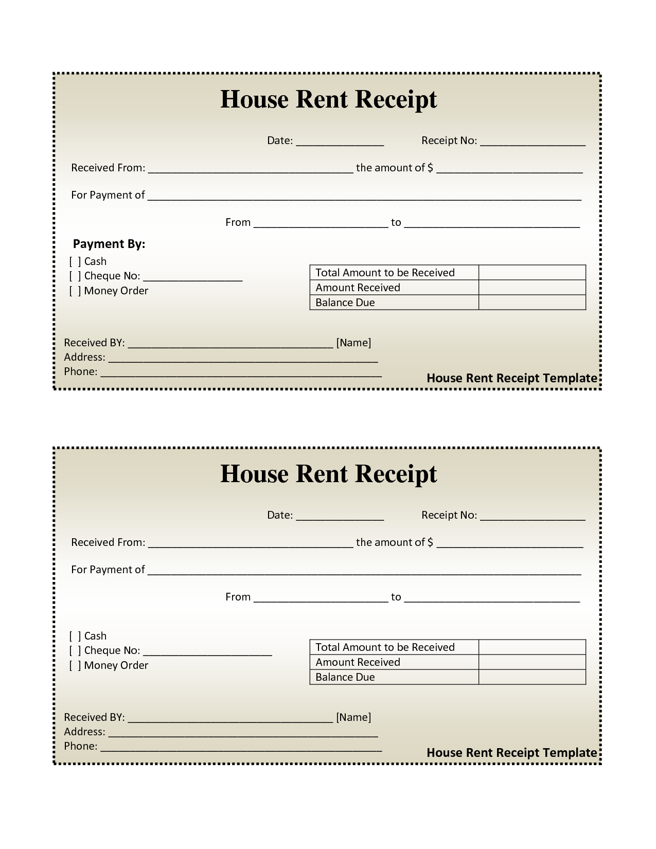 Free House Rental Invoice  House Rent Receipt Template  Doc In Monthly Rent Invoice Template