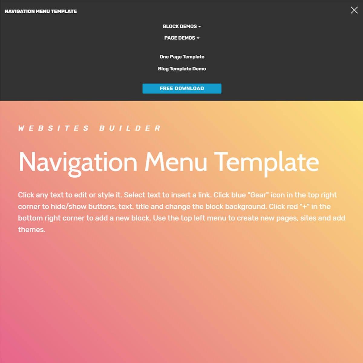 Free Html Bootstrap Navigation Menu Template With Free Css Navigation Menu Templates