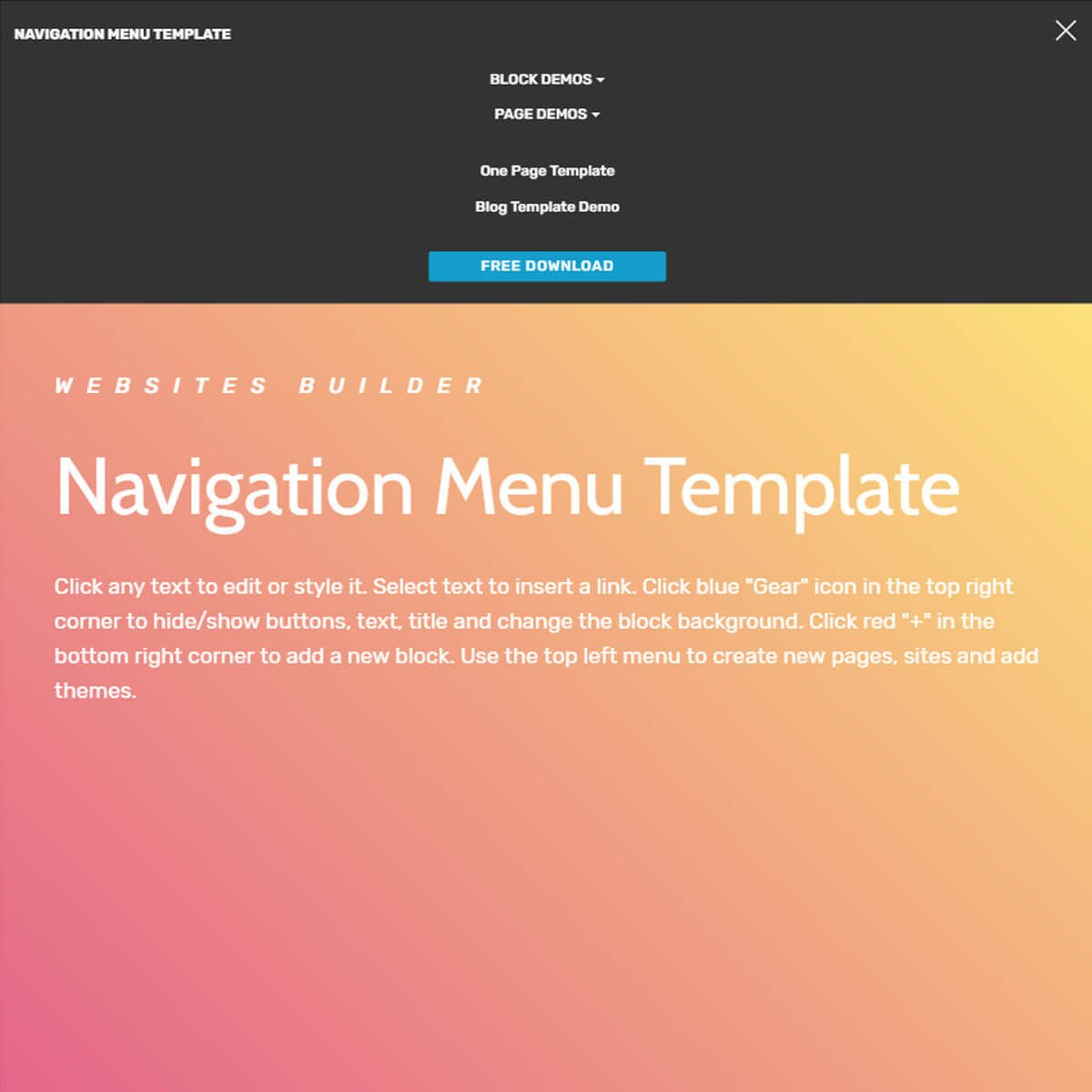 Free Html Bootstrap Navigation Menu Template With Regard To Css Vertical Menu Templates Free Download