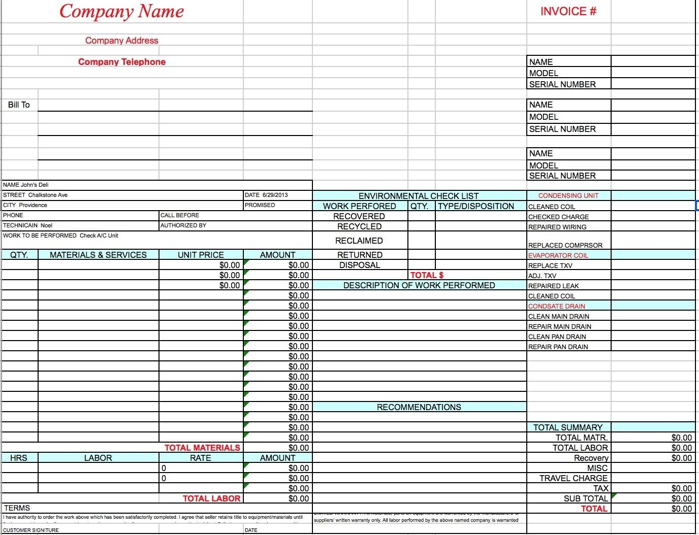 Free Hvac Invoice Template Excel Pdf Word Doc Hvac Invoice Template Within Air Conditioning Invoice Template