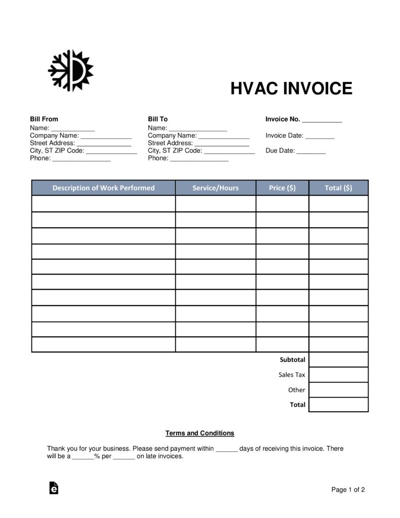 Free Hvac Invoice Template  Word  Pdf  Eforms – Free Fillable Forms For Hvac Service Invoice Template Free