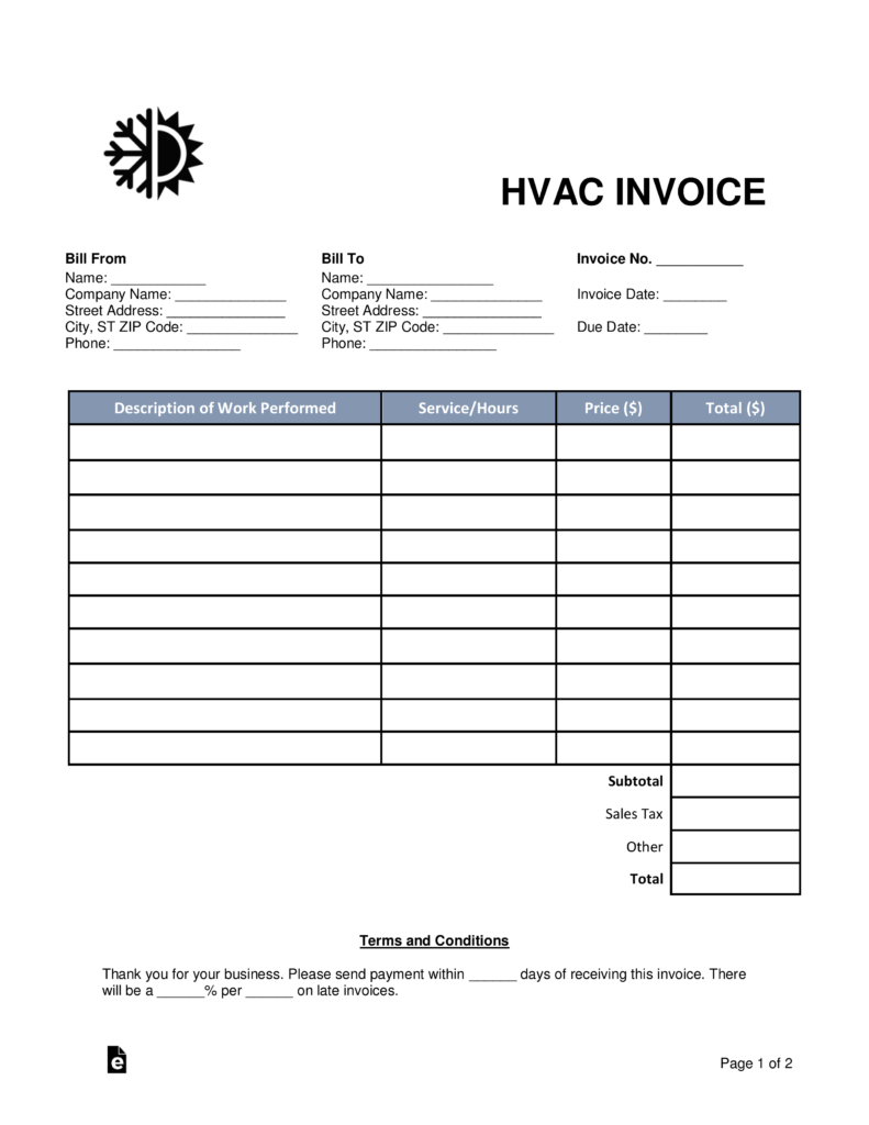 Free Hvac Invoice Template  Word  Pdf  Eforms – Free Fillable Forms Regarding Hvac Service Order Invoice Template