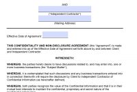 Free Independent Contractor Nondisclosure Agreement Nda  Pdf inside Mutual Non Disclosure Agreement Template