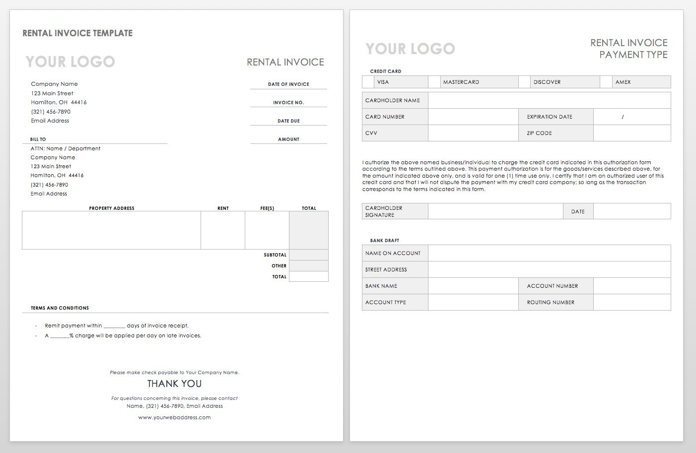 Free Invoice Templates  Smartsheet Within Labor Invoice Template Word