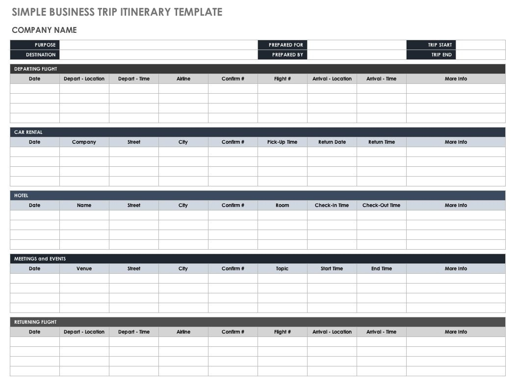 Free Itinerary Templates  Smartsheet Regarding Blank Trip Itinerary Template