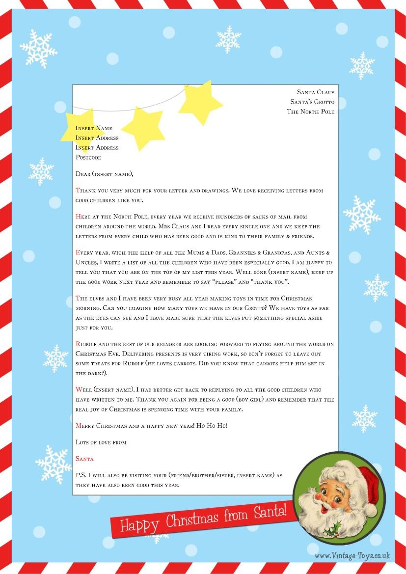 """Free """"Letter From Santa"""" Template For You To Download And Edit Within Santa Letter Template Word"""