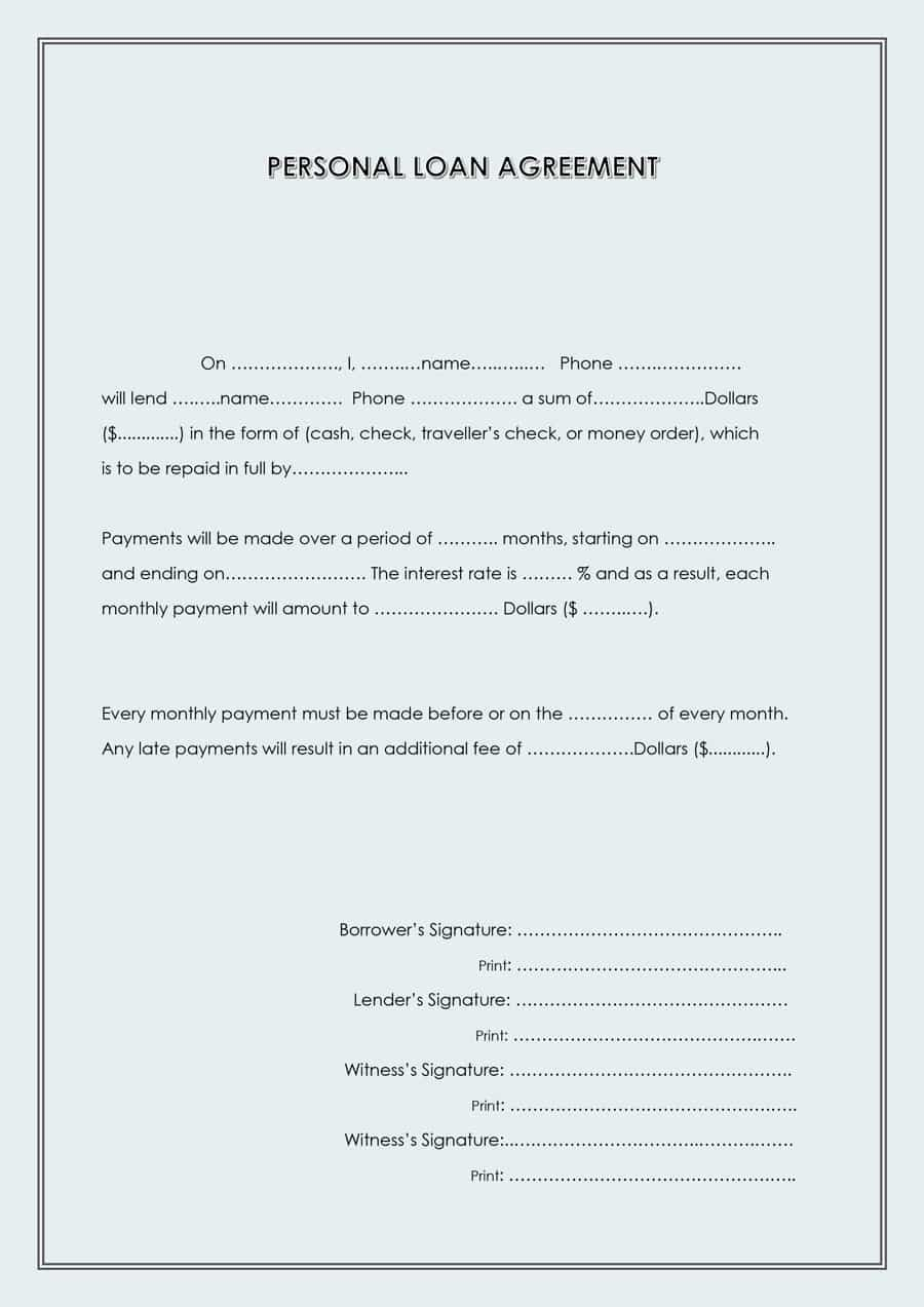 Free Loan Agreement Templates Word  Pdf ᐅ Template Lab Regarding Legal Contract Template For Borrowing Money