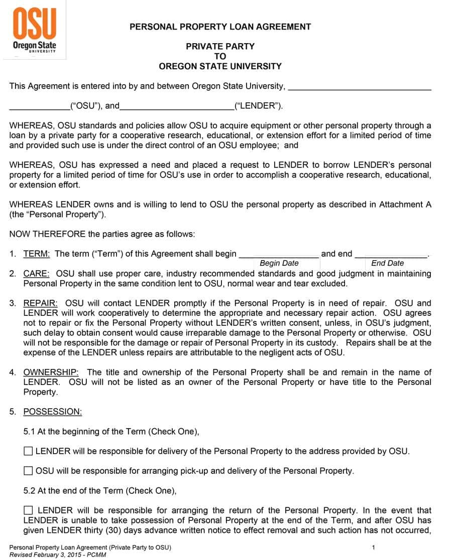 Free Loan Agreement Templates Word  Pdf ᐅ Template Lab With Cosigner Loan Agreement Template